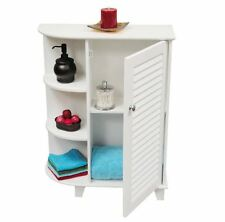 Bathroom Floor Cabinet White Storage Furniture with Side Shelves Shutter Door