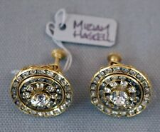 MIRIAM HASKELL SCREW BACK EARRINGS LOADED WITH CLEAR RHINESTONES