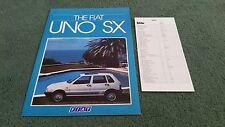 June 1985 FIAT UNO SX - UK FOLDER BROCHURE + June 1985 UNO SX PRICE LIST