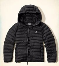 Men's Hollister Warm Light Black Down Puffer Winter Jacket Coat Hood Size Small