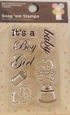 NEW IMAGINISCE CLEAR STAMP SET BIRTH ANNOUNCEMENT BOY GIRL BABY BOTTLE  000757