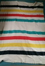 "VINTAGE WOOL BLANKET COLORFUL STRIPPED  64"" X 84"" NO LABEL. Hudson Bay? Woolrich"