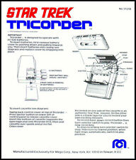 ORIGINAL SERIES: 1976 STAR TREK MEGO TRICORDER INSTRUCTION SHEET