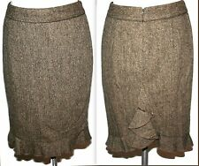 Club Monaco Brown Wool Silk Ruffle Fishtail Pencil Skirt Sz 0
