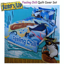 2 Pce - Surf's Up Chill Penguin - SINGLE Quilt Doona Duvet Cover Set