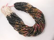 "Genuine Natural Multi Tourmaline Tube Smooth Necklace Loose Beads15""Str"