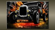 """LARGE CAR HOT ROD BLACK CANVAS WALL PICTURE FLASH ART 30"""" 20"""" 0107"""