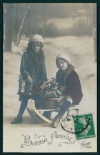 Child Girl Toy Sledge Doll Christmas presents vintage old 1910s photo postcard