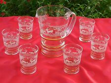 RARE Vintage French screenprinted and gilded ORANGEADE SET : PITCHER & 6 GLASSES
