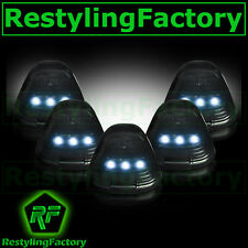 99-15 Ford Super Duty F250+F350+F450 Cab Roof 5pcs WHITE LED Lights SMOKE Lens