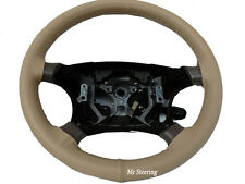 FOR PEUGEOT 406 1995-2004 REAL BEIGE LEATHER STEERING WHEEL COVER NEW