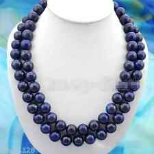 Natural 10mm Blue Egyptian Lapis Lazuli Round Beads Gemstone Necklace 36 Inch