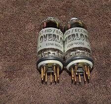 RARE MATCHED PAIR OVERLORD ECC803S-HD / 12AX7 ECC83 USA MADE 2 TUBES EXCELLENT