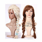 Princess Snow Queen Elsa Wig Anna Cosplay Wigs Blonde Braided Synthetic Long+Cap