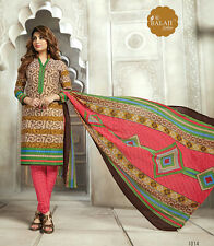 Printed Pure Cotton Salwar Kameez Multi Color Unstiched Casual Wear Material