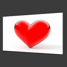 RED GLASS HEART LOVE MODERN ART PICTURE CANVAS PRINT 30 x 20 Inch FREE UK P&P