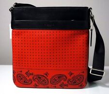Coach Charles Red/Black Bandana Printed Leather Sport Calf Crossbody Bag F55961