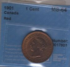 1901 Canada Large Cent Coin. RED CCCS MS-64
