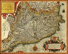 MAP ANTIQUE VRIENTS 1608 CATALONIA HISTORIC LARGE REPLICA POSTER PRINT PAM1336