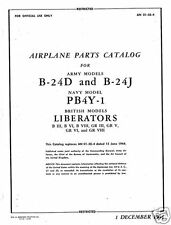 Consolidated B-24 Liberator parts service manual 1944 WW2 RARE HISTORIC