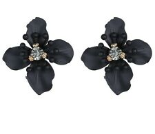 BLOGGERS FAV ANTHROPOLOGIE BEAUTIFUL BLACK FLOWER EARRINGS- NEW