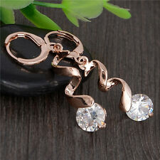 Jewelry 18K Rose Gold Filled Cubic Zirconia Drop Hoop Earrings