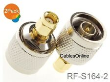 2-Pack N-Type Male to RP-SMA Reverse Polarity Male RF Adapters, RF-S164-2