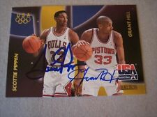 Scottie Pippen & Grant Hill Dual Autograph 1996 USA Skybox Auto Basketball Card