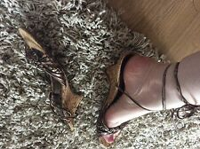 bnwot £18 brown bronze tie up leg sandals size 5 neat 2 inch cork heel