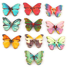 50pcs DIY Mixed 2 Holes Butterfly Shape Wooden Sewing Mend Scrapbooking Buttons