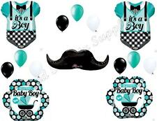 Aqua BABY BOY MUSTACHE & ONESIE shower Balloons Decoration Supplies Carriage