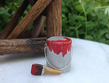 Miniature Dollhouse FAIRY GARDEN ~ TINY Micro RED Paint Can with Brush ~ NEW