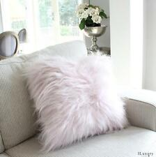 GENUINE ICELANDIC SHEEPSKIN LONG HAIR SHAGGY FUR CUSHION PILLOW PINK NURSERY