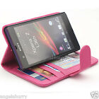 Pink Sony Xperia Z Slim Leather Credit Flip Case Pouch C6603 C6602 L36h L36i