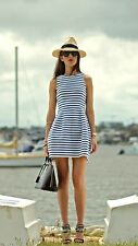 ZARA BLUE STRIPE NAUTICAL SAILOR Tulip DRESS Large L MINI FORMAL DRESS
