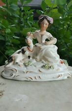 Antique Staffordshire Pottery Mary Resting Girl with Spotted Lamb Sheep