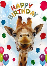 Funny Giraffe & Balloons Birthday Card 3D Goggly Moving Eyes
