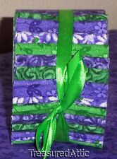 """Quilting Fabric Honey Bun Jelly Roll1.5"""" Fabric Strips Purple Green White Floral"""
