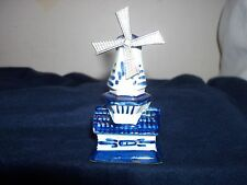 """Vtg Delft Blue Pottery Holland 4 1/2"""" Windmill Moveable Silver Tin Blade~Signed"""