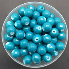 NEW DIY 6mm 50PCS Sea Blue Glass Round Pearl Spacer Loose Beads Jewelry Making