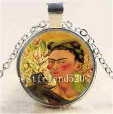 Frida Kahlo and monkey Cabochon Glass Tibet Silver Chain Pendant Necklace#A80