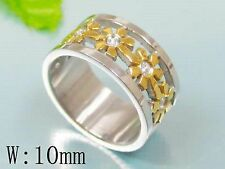 Size 10 - Flower Cut - Two-toned Stainless Steel Ring - R97