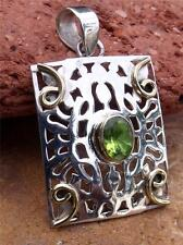 HANDCRAFTED MIXED METAL & PERIDOT PENDANT SILVERANDSOUL JEWELLERY