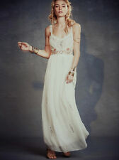 138976 $400 Free People White Artemis Maxi Embellished Embroidered Long Dress XS