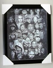 "RAP GODS mini framed POSTER Ready to Hang LICENSED ""TUPAC, 50 CENT, EMINEM"""