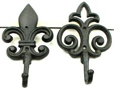Fleur De Lis Set of 2 Cast Iron Wall Hooks
