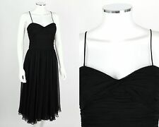 PAMELLA ROLAND BLACK SILK CHIFFON SPAGHETTI STRAP COCKTAIL DRESS SZ 6