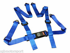 NEW SPORTS RACING HARNESS SEAT BELT 3 4 POINT FIXING MOUNTING BLUE QUICK RELEASE