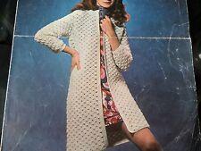 """Crochet Pattern Women Girl Long Length Cardigan Coat DK 34-38"""" Vintage"""