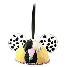 Disney NWT 101 Dalmations Cruella De Vil Ear Hat Ornament Christmas Villain NEW